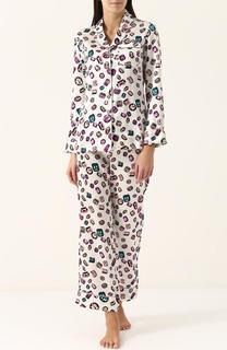 Шелковая пижама с контрастным принтом Olivia Von Halle