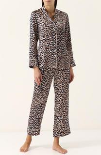 Шелковая пижама с леопардовым принтом Olivia Von Halle
