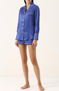 Шелковая пижама с мини-шортами и принтом Olivia Von Halle