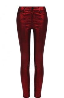 Укороченные кожаные брюки-скинни RTA