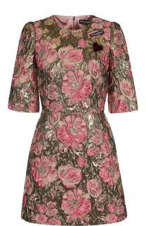 Жаккардовое мини-платье с укороченным рукавом Dolce & Gabbana