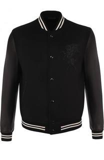 Бомбер из смеси шерсти и кашемира с кожаными рукавами Alexander McQueen