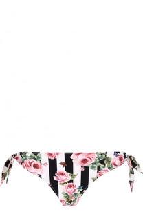 Плавки-бикини в полоску с цветочным принтом Dolce & Gabbana