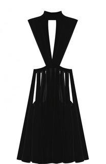 Приталенное платье-миди с воротником-стойкой Valentino