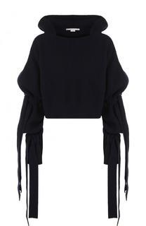 Укороченный пуловер фактурной вязки из смеси кашемира и шерсти Stella McCartney