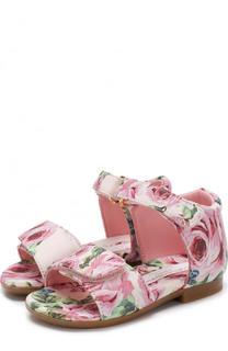 Текстильные босоножки с принтом и застежками велькро Dolce & Gabbana