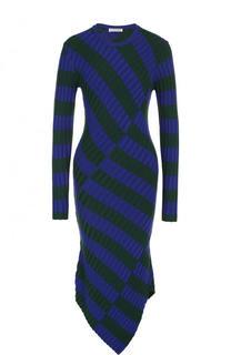 Вязаное платье-миди асимметричного кроя в полоску Altuzarra