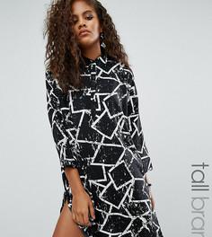 Платье-рубашка с принтом граффити Noisy May Tall Sandra - Черный