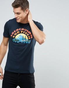 Темно-синяя футболка с принтом логотипа Abercrombie & Fitch - Темно-синий
