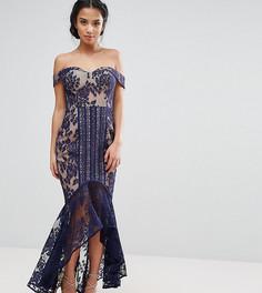 Кружевное платье с открытыми плечами и асимметричным подолом Jarlo Petite - Темно-синий