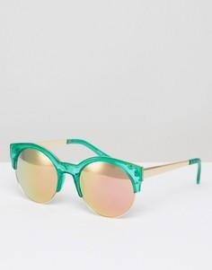 Круглые солнцезащитные очки с зеркальными линзами River Island - Зеленый