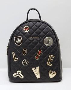 Стеганый рюкзак с нашивками Love Moschino - Черный
