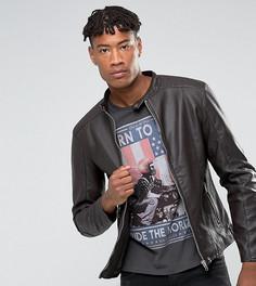 Байкерская куртка из искусственной кожи Barneys Originals TALL - Коричневый