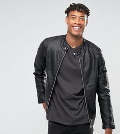 Байкерская куртка из искусственной кожи Barneys Originals TALL - Черный