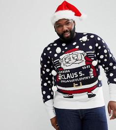 Новогодний джемпер с Санта-Клаусом Brave Soul PLUS - Темно-синий