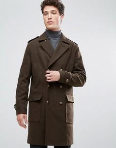 Удлиненное пальто милитари из ткани с добавлением шерсти Stanley Adams - Зеленый