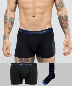 Подарочный набор из однотонных черных боксеров-брифов и носков в полоску Tommy Hilfiger - Черный