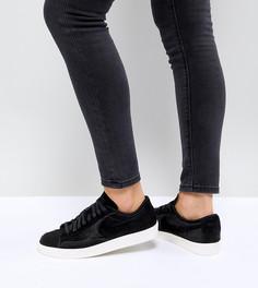 Черные низкие премиум-кроссовки с эффектом ворса пони Nike Blazer - Черный
