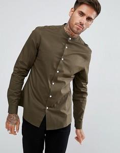 Узкая рубашка цвета хаки с воротником на пуговице ASOS - Зеленый