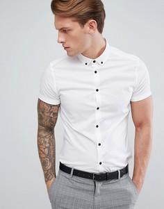Облегающая белая рубашка с короткими рукавами ASOS - Белый