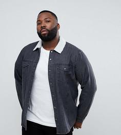 Черная джинсовая рубашка навыпуск с отделкой из искусственного меха ASOS PLUS - Черный