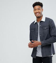 Черная джинсовая рубашка навыпуск с воротником из искусственного меха ASOS TALL - Черный