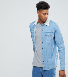 Джинсовая рубашка навыпуск с отделкой из искусственного меха ASOS TALL - Синий