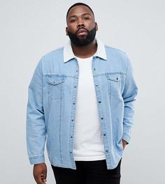 Джинсовая рубашка навыпуск с меховым воротником ASOS PLUS - Синий