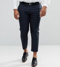 Темно-синие укороченные строгие брюки скинни в клетку ASOS PLUS - Темно-синий