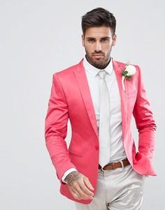 Розовый супероблегающий блейзер из хлопкового атласа ASOS - Розовый