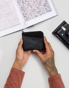 Кожаный кошелек на молнии с парусиновой вставкой ASOS - Черный