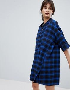 Платье-рубашка в клетку d.Ra Papaya - Синий