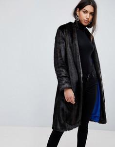 Пальто без воротника с искусственным мехом Helene Berman Suki - Коричневый