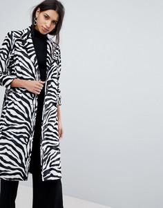 Пальто с зебровым принтом Helene Berman - Черный