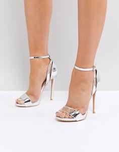 Серебристые босоножки на высоком каблуке Lost Ink - Серебряный