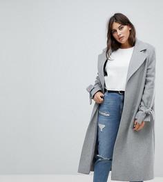 Пальто с завязками на рукавах Helene Berman Plus - Серый