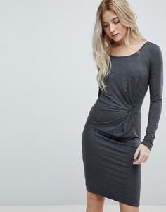Трикотажное платье с узлом Only Rina - Серый