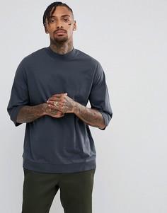 Oversize-футболка с высоким воротом ASOS - Серый