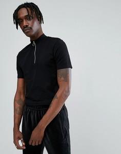 Длинная облегающая футболка с молнией, высоким воротом и асимметричным краем ASOS - Черный