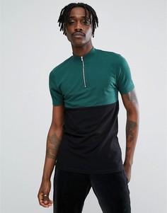 Комбинированная обтягивающая футболка с высоким воротником и короткой молнией ASOS - Мульти