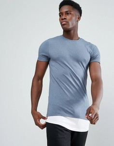 Длинная обтягивающая футболка с контрастной вставкой ASOS - Мульти
