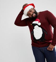 Новогодний джемпер с пушистым пингвином Threadbare PLUS - Красный