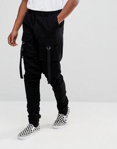 Серые джоггеры заниженного кроя со сборками и карманами ASOS - Черный