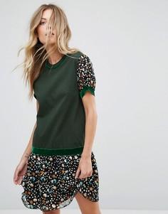 Трикотажное платье с заниженной талией и принтом Anna Sui - Зеленый