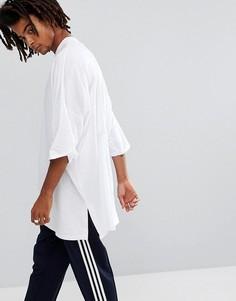 Белая супердлинная футболка оверсайз с разрезами по бокам ASOS - Белый