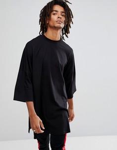Черная супердлинная футболка оверсайз с разрезами по бокам ASOS - Черный