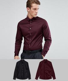 Бордовая и черная рубашки узкого кроя из эластичного атласа ASOS - Мульти