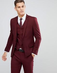 Бордовый пиджак слим ASOS - Красный