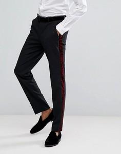 Красные брюки скинни под смокинг с узором пейсли ASOS - Черный