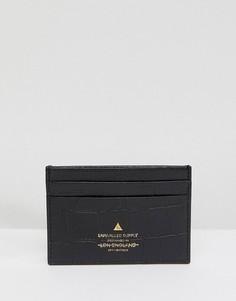 Черная кожаная кредитница с крокодиловым рисунком и золотистым логотипом ASOS - Черный